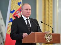 Президент России Владимир Путин выступает на встрече с выпускниками высших военных учебных заведений