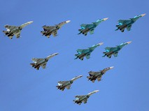 Группа истребителей Су-34, Су-27 и Су-35С