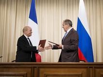 Глава МИД России Сергей Лавров и министр иностранных дел Франции Жан-Ив Ле Дриан