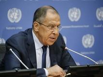 Глава МИД РФ Сергей Лавров на пресс-конференции в ООН