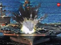 На видео издания DPRK Today показано, как ракеты КНДР уничтожают авианосец США