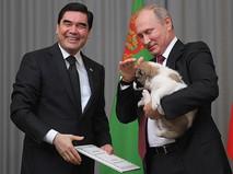 Президент РФ Владимир Путин и председатель кабинета министров Туркмении Гурбангулы Бердымухамедов