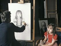 Илья Глазунов пишет портрет дочери