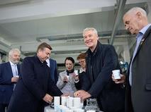 Мэр Москвы Сергей Собянин во время посещения Рублевское станции водоподготовки