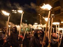 Участники марша в Киеве, приуроченного к годовщине создания УПА