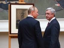 Владимир Путин и Серж Саргсян у картины Врубеля