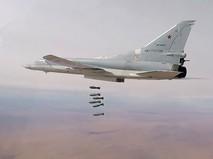 Авиаудар стратегического бомбардировщика Ту-22М3 ВКС России по позициям ИГИЛ в Сирии