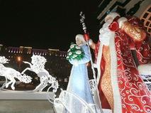 Новогодняя иллюминация у Триумфальной арки в Москве