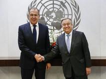 Глава МИД России Сергей Лавров и генсек ООН Антониу Гутерреш