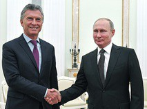 Президент России Владимир Путин и президент Аргентины Маурисио Макри
