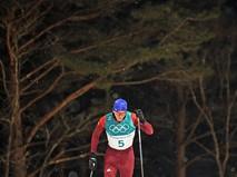 Российский спортсмен Александр Большунов на дистанции спринта среди мужчин в квалификационных соревнованиях по лыжным гонкам на XXIII зимних Олимпийских играх в Пхенчхане