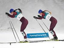 Российские спортсменки Наталья Непряева и Юлия Белорукова на XXIII зимних Олимпийских играх в Пхенчхане