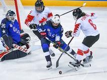 Финальный матч Канада - США по хоккею среди женщин на XXIII зимних Олимпийских играх