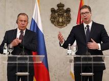 Глава МИД РФ Сергей Лавров и президент Сербии Александр Вучич