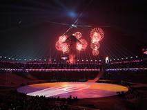 Салют над Олимпийским стадионом на церемонии закрытия XXIII зимних Олимпийских игр в Пхенчхане
