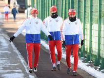Футболисты сборной России на тренировке перед контрольными матчами с Бразилией и Францией