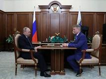 Владимир Путин и Герман Греф во время встречи