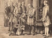 """Император Павел I в 1799 году награждает Александра Суворова орденом Святого Иоанна Иерусалимского. Иллюстрация из журнала """"Новая иллюстрация"""""""