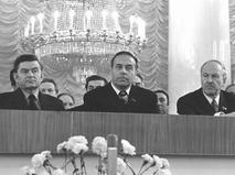 Кирилл Мазуров, Гейдар Алиев, Михаил Пономарёв в президиуме во время торжественного собрания