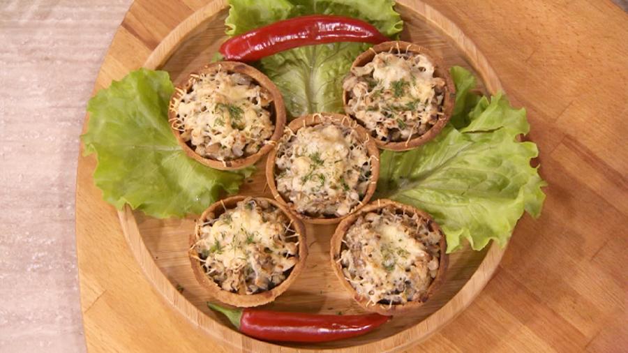 тарталетки с грибами и сыром в духовке рецепт с фото