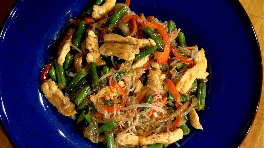 Горячая фунчоза с овощами рецепт с фото