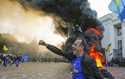 Акция протеста у здание Верховной Рады Украины