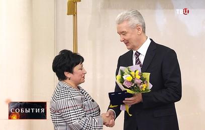 Мэр Москвы Сергей Собянин во время награждения за особые заслуги перед городом и страной