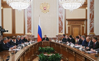 Председатель правительства России Дмитрий Медведев проводит заседание правительства