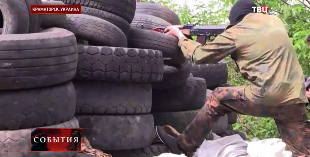 Бойцы народного ополчения в Краматорске