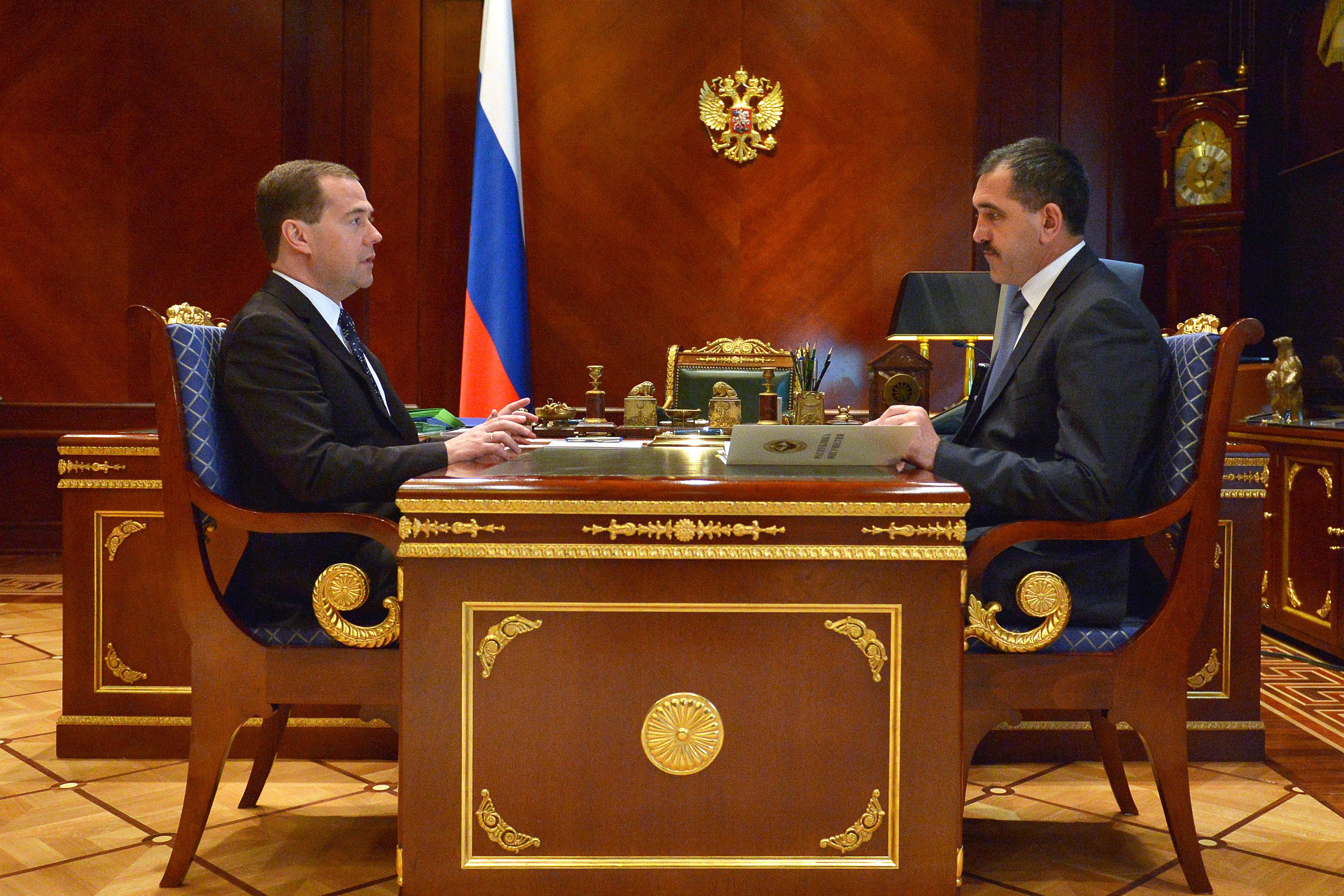 Дмитрий Медведев во время встречи с президентом Ингушетии Юнус-Бек Евкуровым