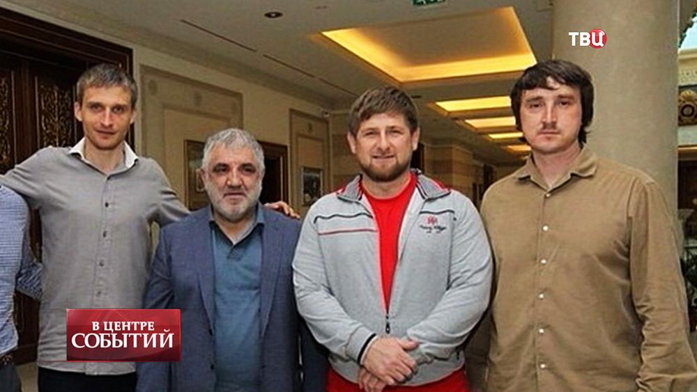 Журналисты LifeNews Олег Сидякин, Марат Сайченко и глава Чеченской республики Рамзан Кадыров