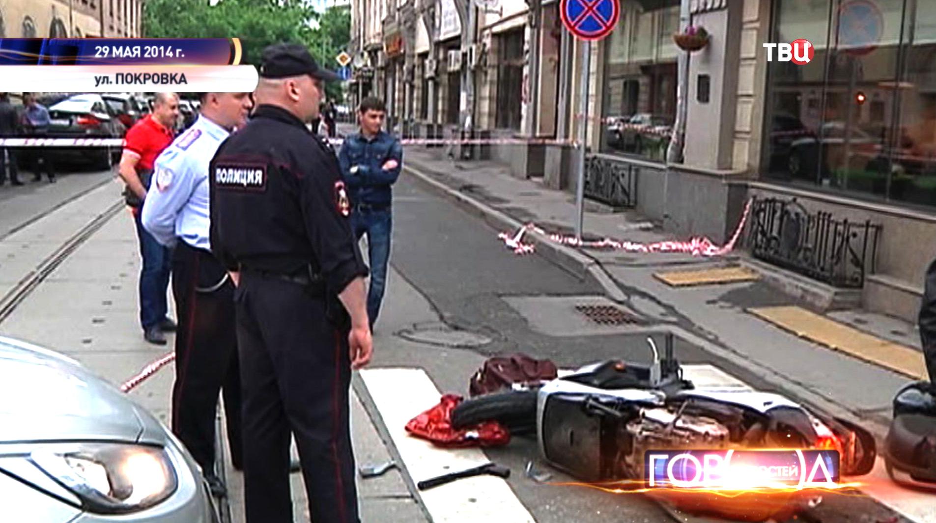 Полиция оцепила масто перестрелки на Покровке