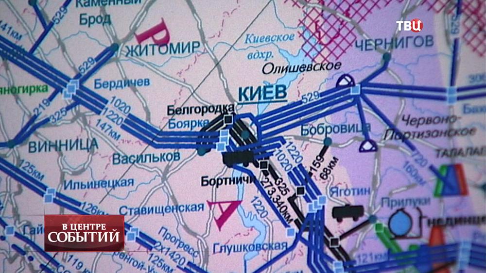 Карта газовых магистралей Украины