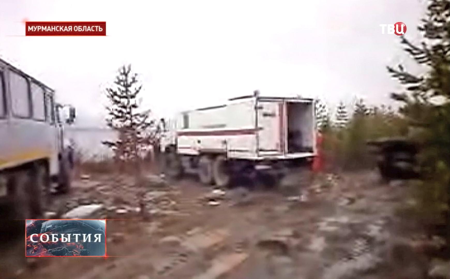 Спасательная помощь на месте падения вертолета