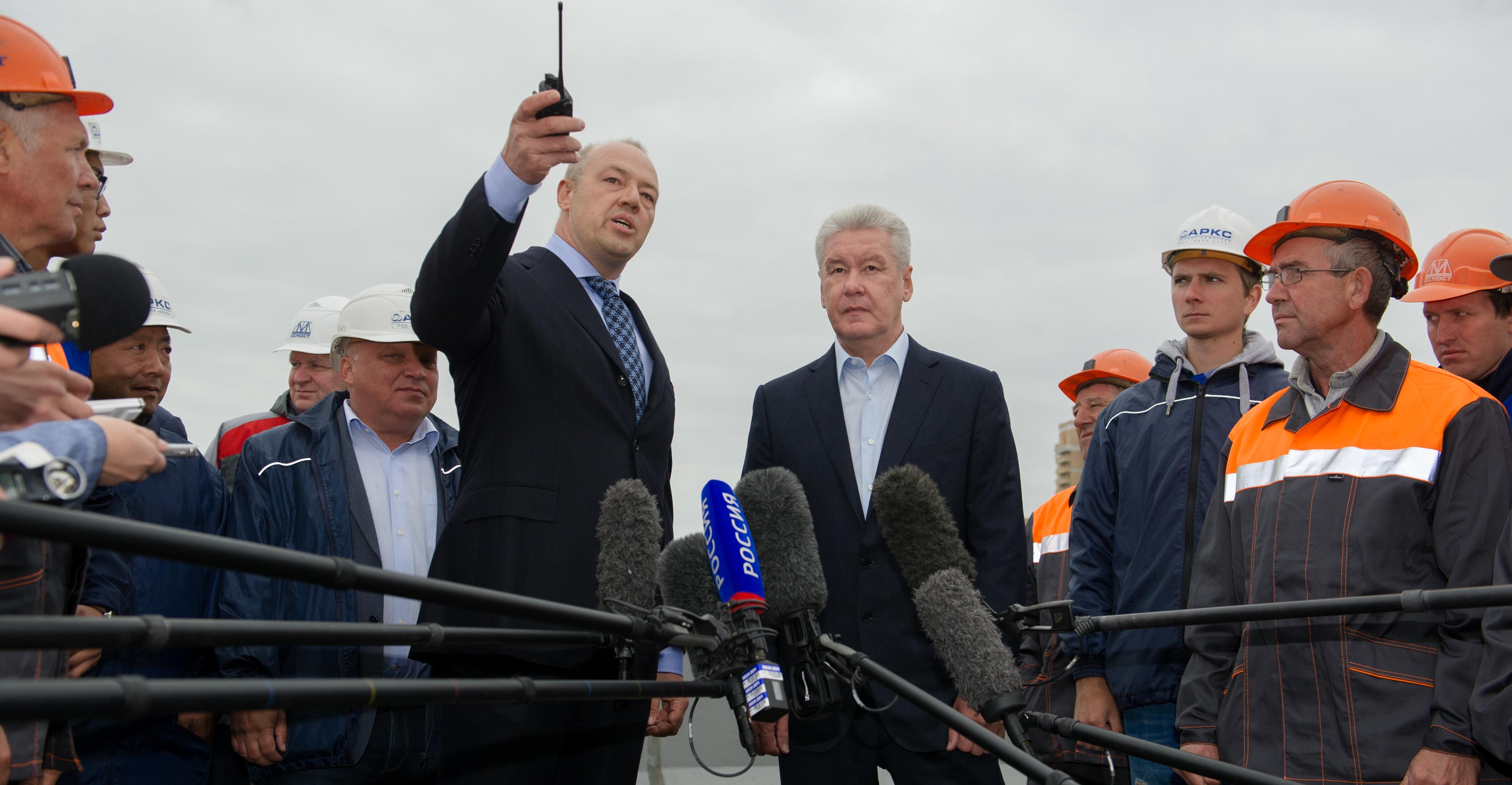 Сергей Собянин на открытии эстакады на транспортной развязке Дмитровского шоссе и МКАД