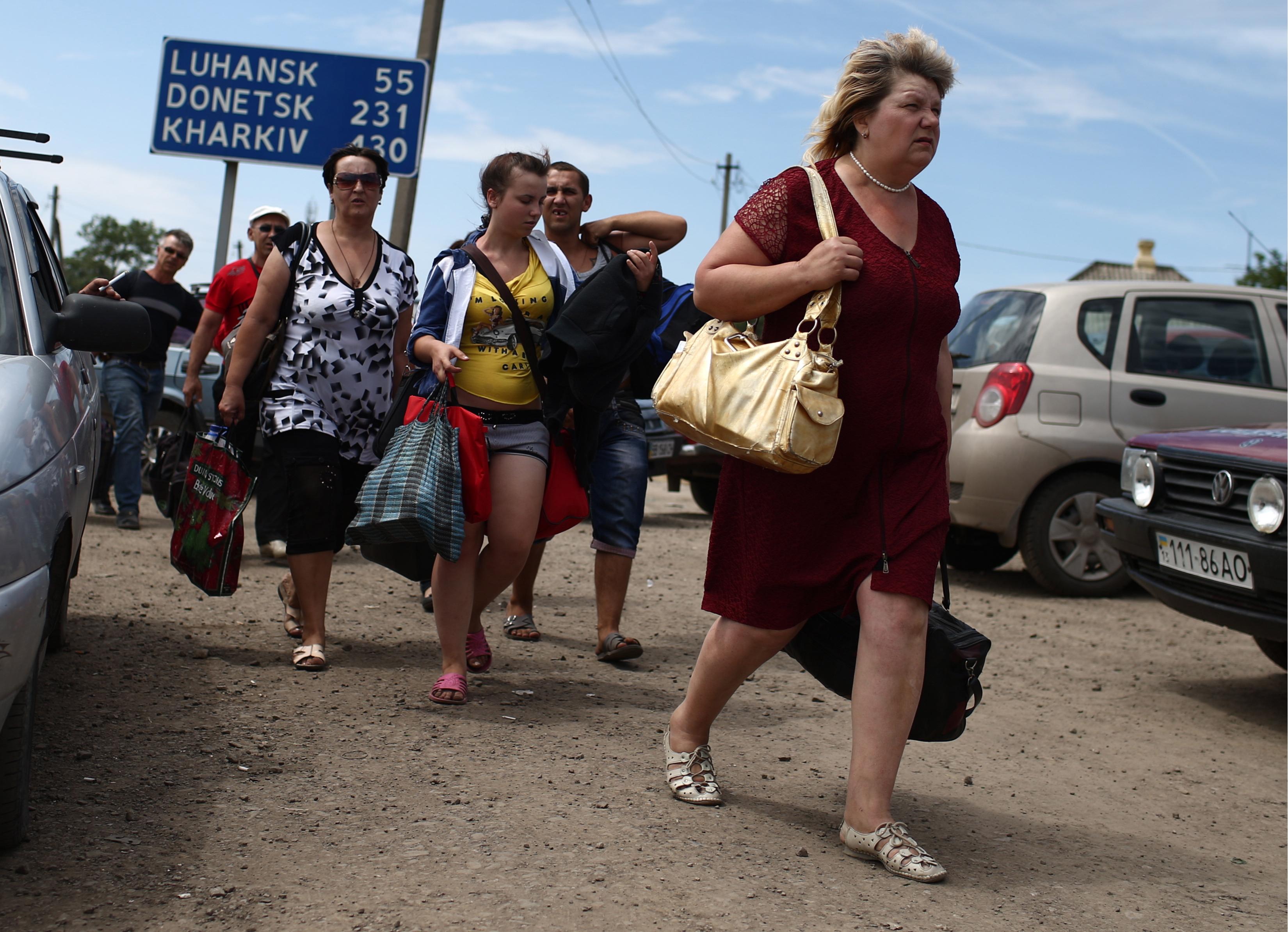 Беженцы на украино-российской границе