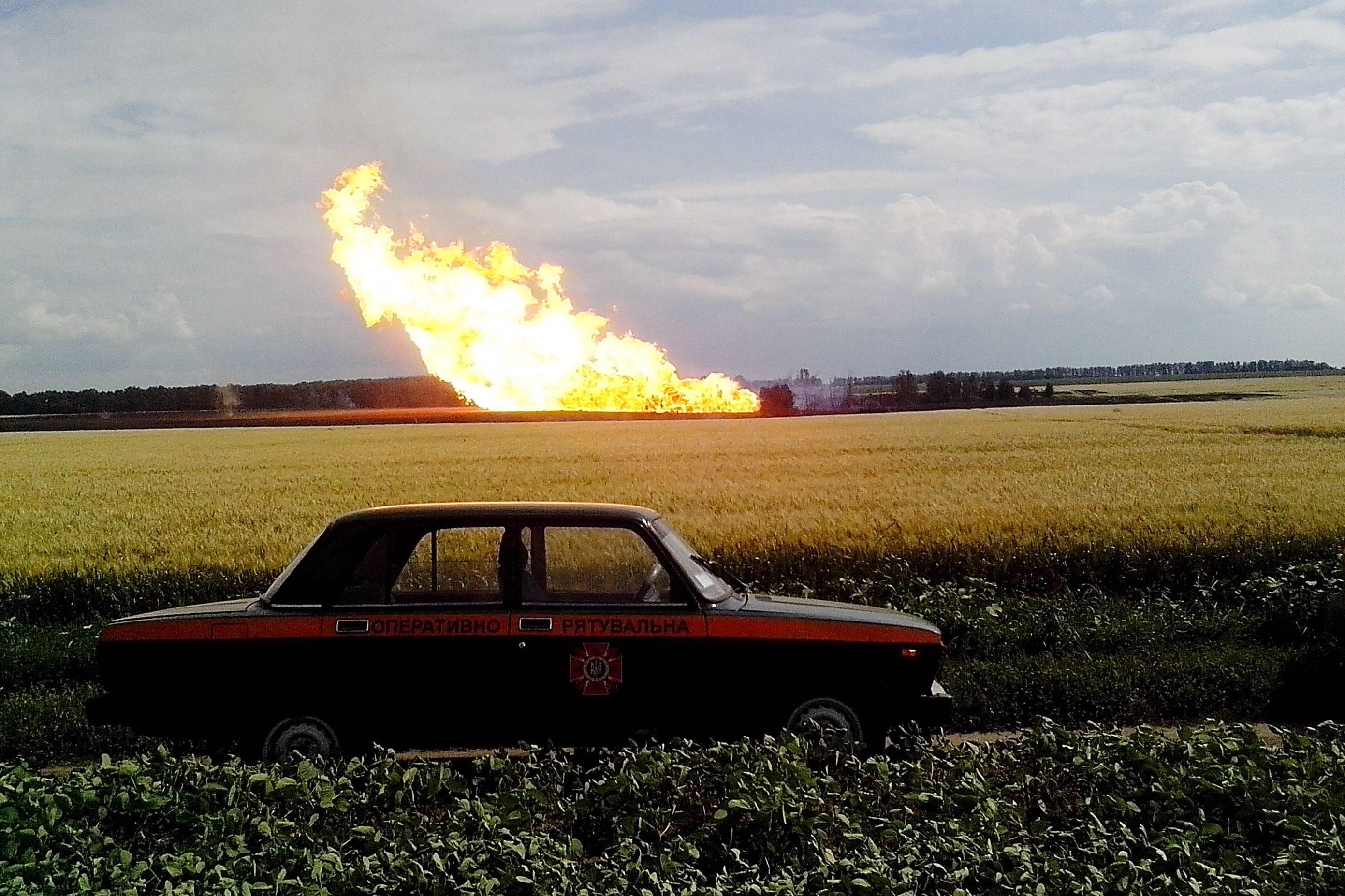 Взрыв на магистральном газопроводе на Украине
