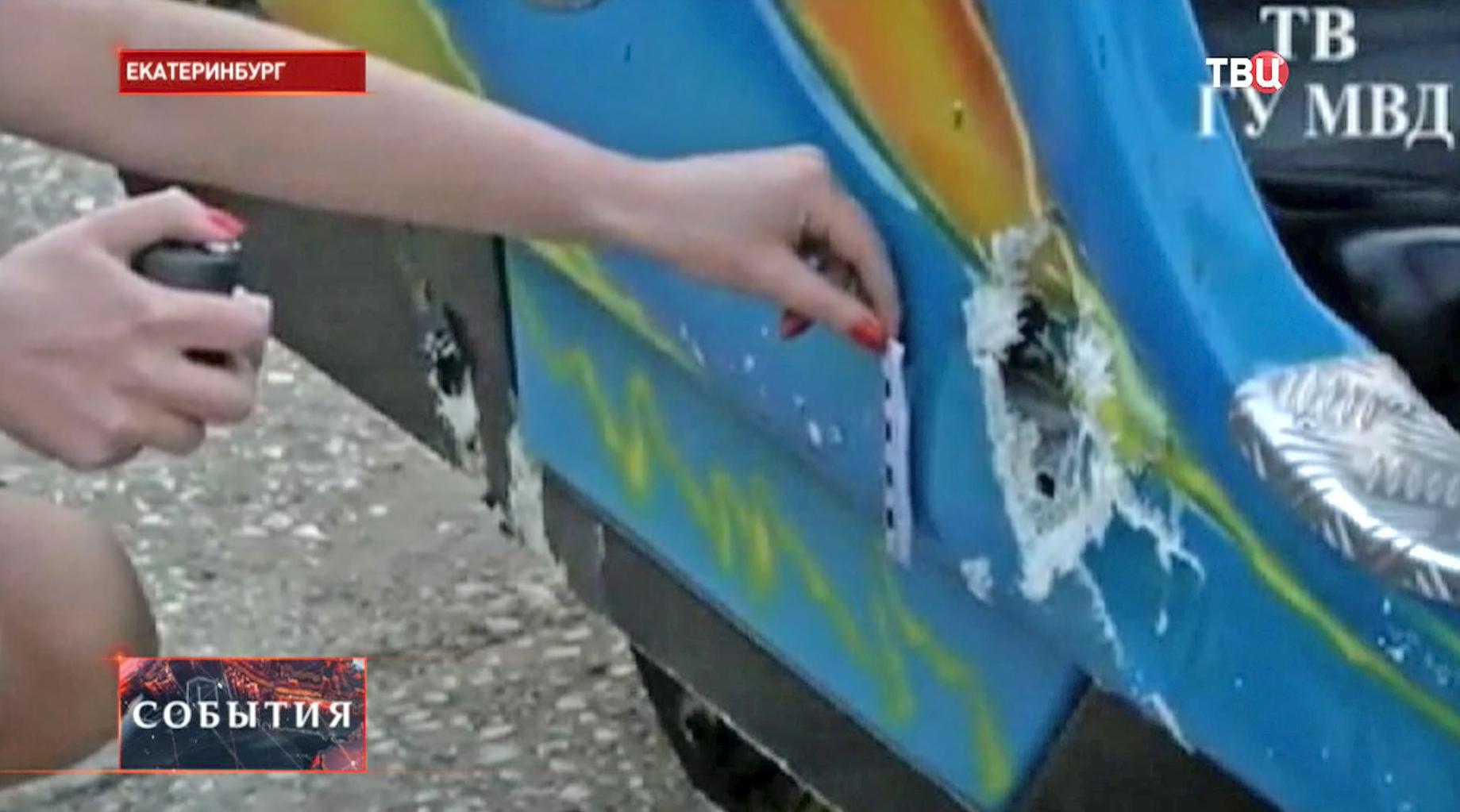 Разбитая кабинка на аттракционе в Екатеринбурге