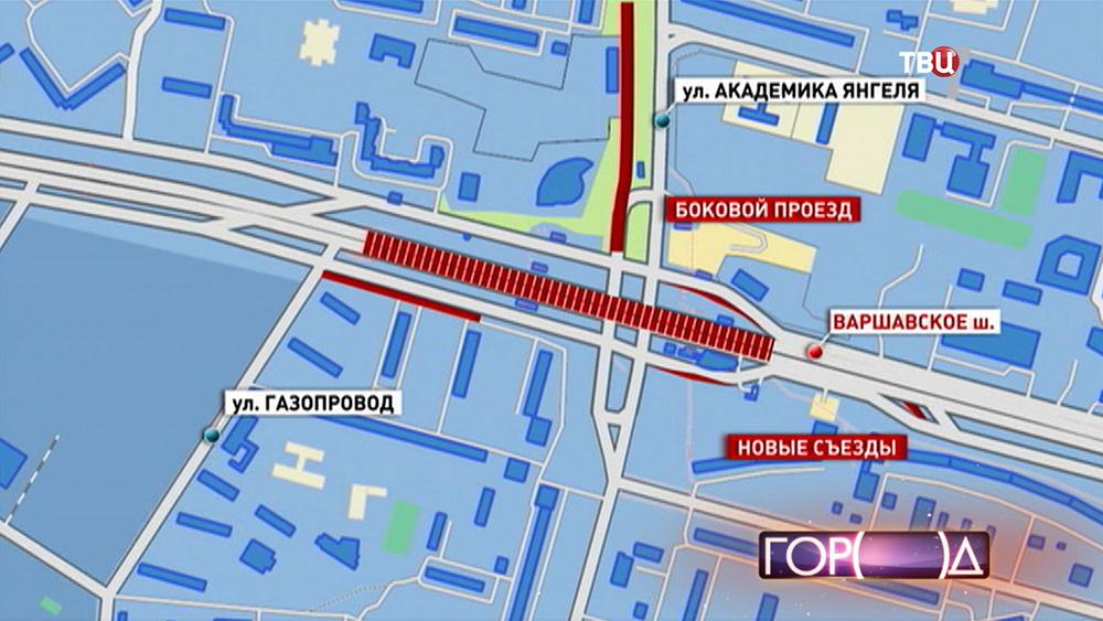 Инфографика новой эстакады на Варшавском шоссе