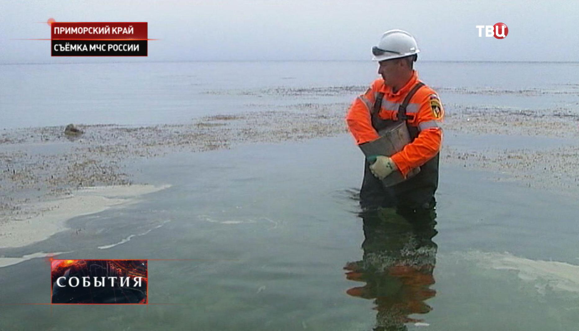 Работы по ликвидации нефтяного загрязнения в Приморском крае