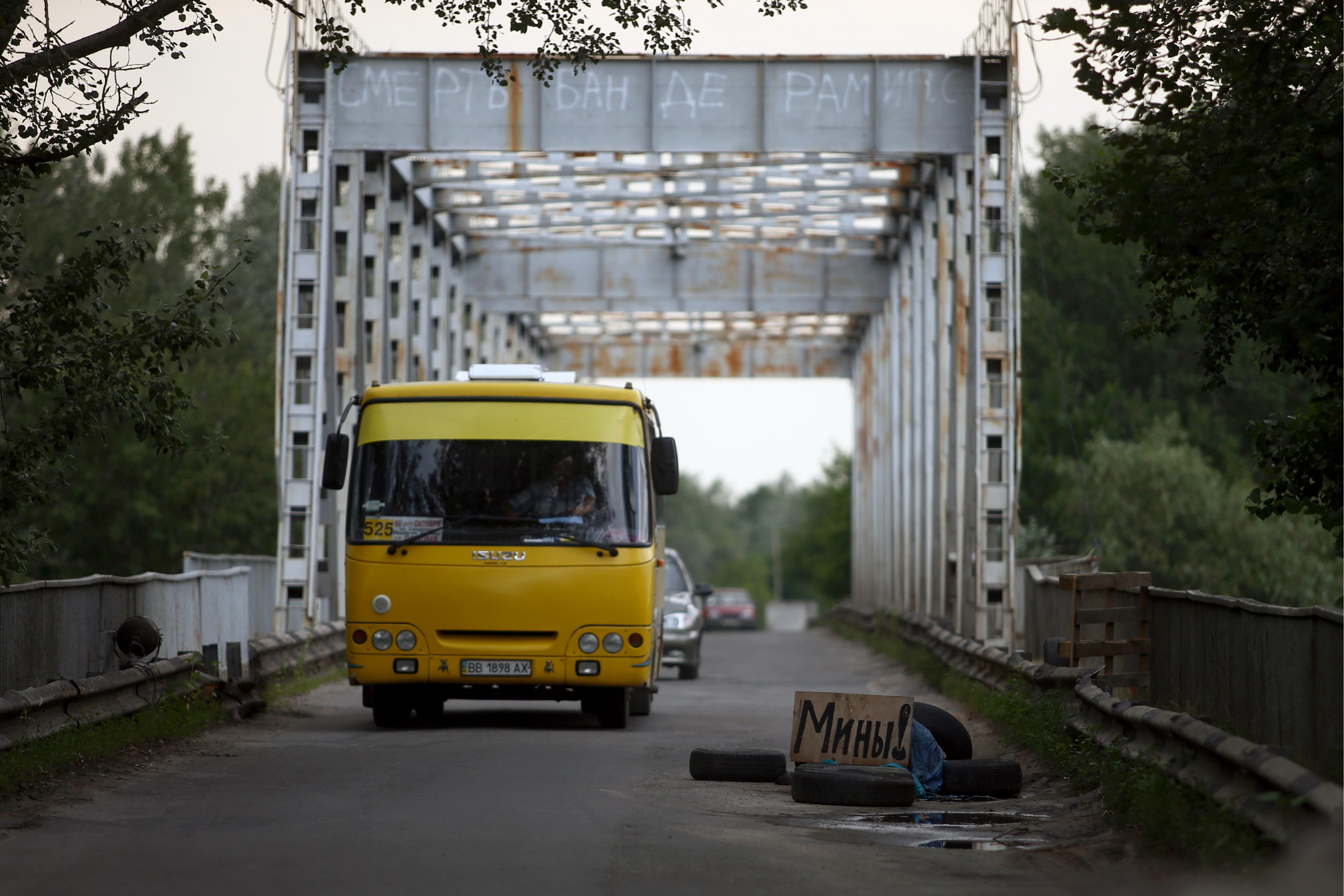 Автобус с беженцами из Украины