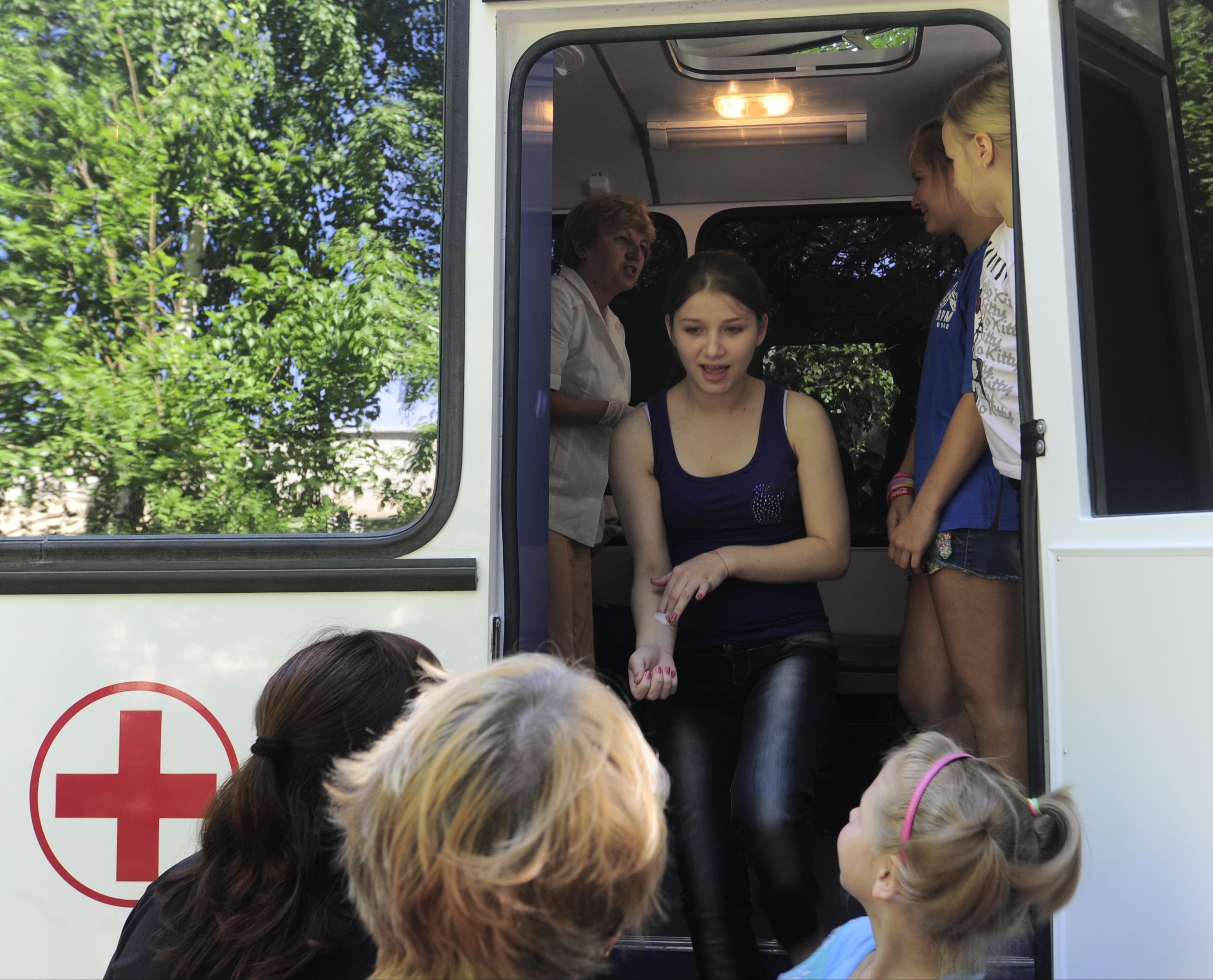 Медицинский пункт в лагере для беженцев из Украины