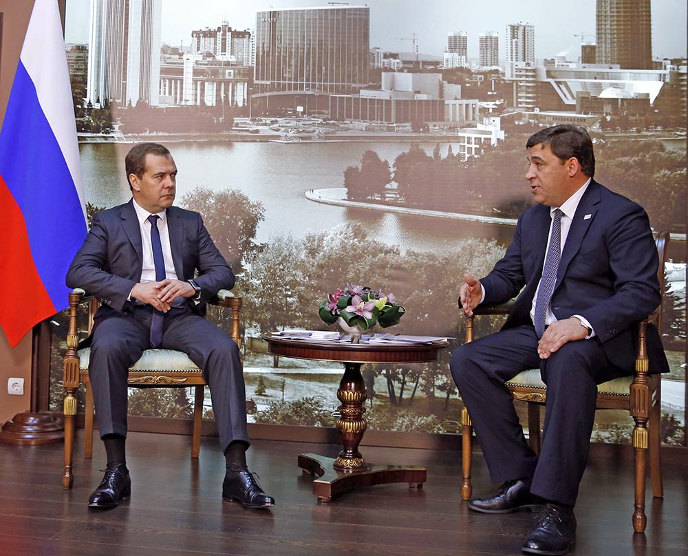 Премьер-министр РФ Дмитрий Медведев и губернатор Свердловской области Евгений Куйвашев