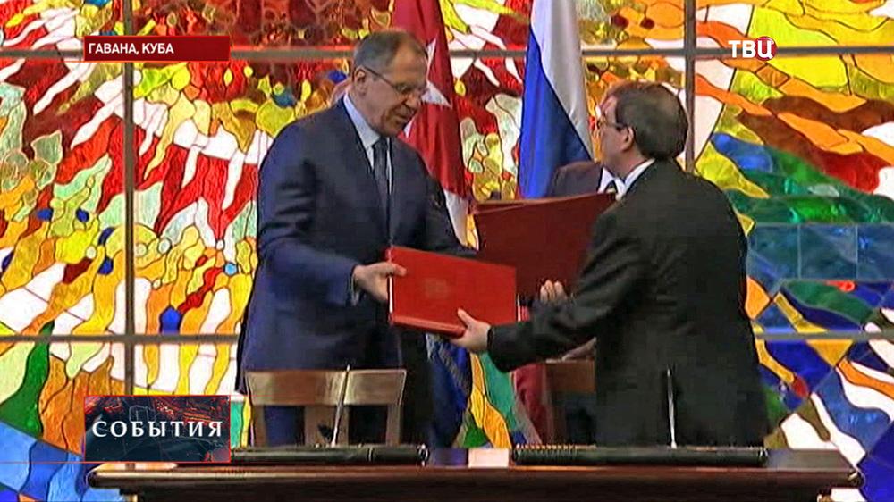 Глава МИР РФ Сергей Лавров во время подписания двусторонних соглашений с Кубой