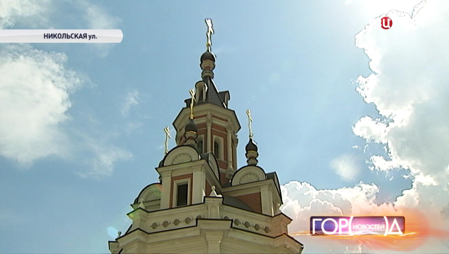 Вид на колокольню Заиконоспасского монастыря