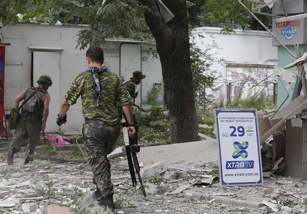 Во время артобстрела Луганска