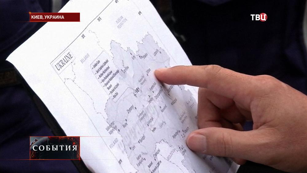 Место падения малайзийского самолета на карте