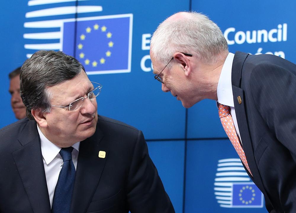Глава Еврокомиссии Жозе Мануэл Баррозу и председатель европейского совета Херман Ван Ромпей