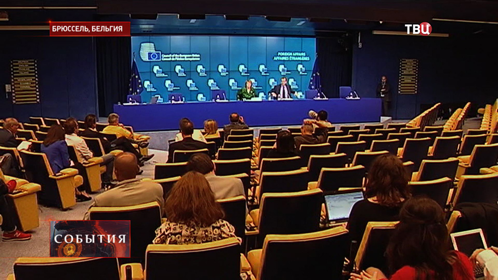 Пресс-конференция на саммите глав МИД стран ЕC в Брюсселе