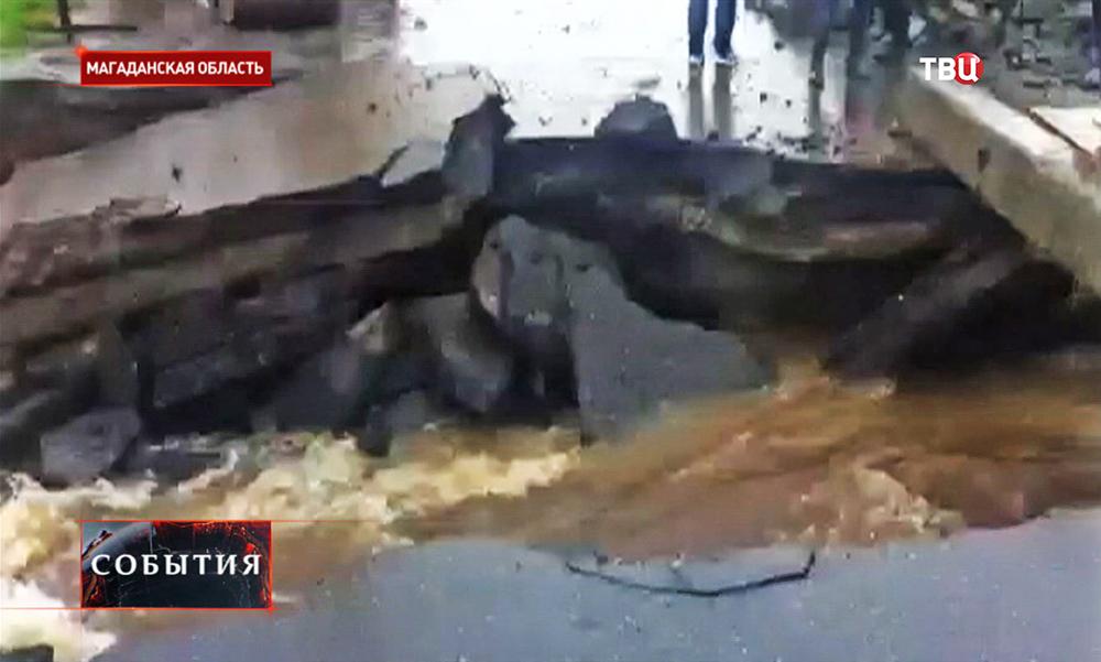Последствия наводнения в Магадане